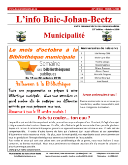 L`info Baie-Johan-Beetz - Municipalité de Baie-Johan