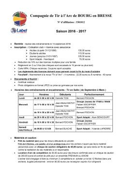 Feuille Saison 2017 - Compagnie Tir à l`arc de Bourg en Bresse