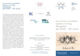 Les services consulaires italiens et le long Risorgimento (fin XVIIIe