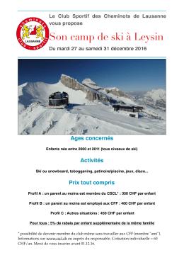 Télécharger le PDF avec toutes les informations sur le camp de ski