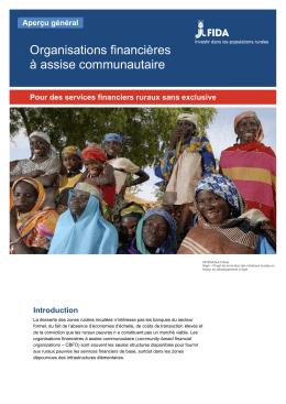 Organisations financières à assise communautaire