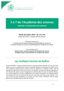 Les multiples facettes de Buffon - 5 à 7 de l`Académie des sciences