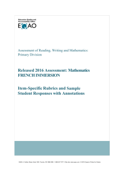 Released 2016 Assessment: Mathematics French Immersion