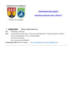 Commission des sports Activités sportives hiver 2016/17