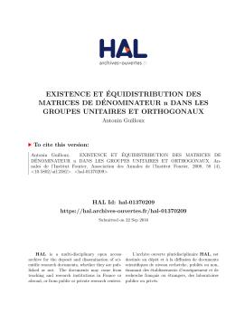 EXISTENCE ET ÉQUIDISTRIBUTION DES MATRICES DE
