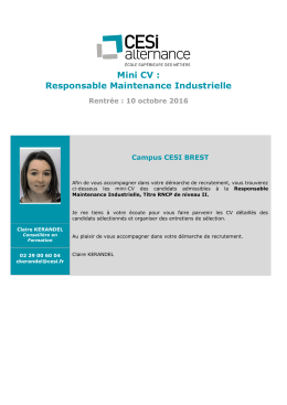 Mini CV : Responsable Maintenance Industrielle - cesi