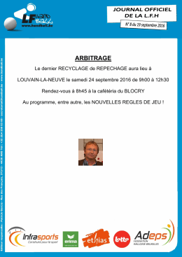 Journal Officiel 8 du 19 septembre 2016