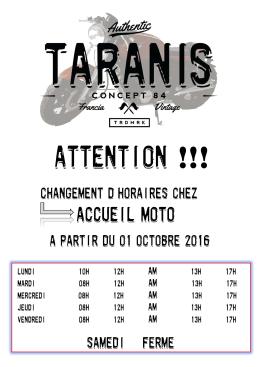 Changement d`Horaires - Accueil Moto et Taranis