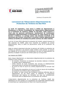 Lancement de l`Observatoire Départemental de - Bas-Rhin