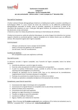 Gestionnaire Comptable (H/F) Catégorie B Affectation : Service