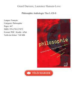 Télécharger Philosophie Anthologie Tles L-ES