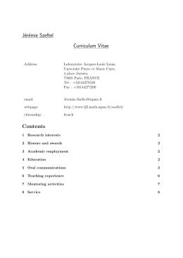 Curriculum Vitae - Laboratoire Jacques-Louis Lions