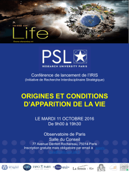 origines et conditions d`apparition de la vie