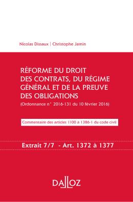 réforme du droit des contrats, du régime général et de la