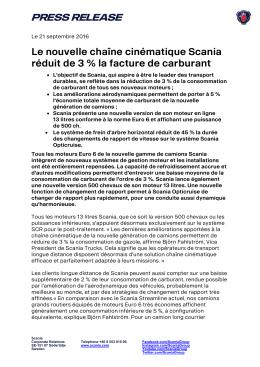 Le nouvelle chaîne cinématique Scania réduit de 3 % la facture de