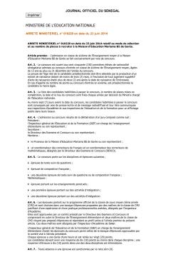 MINISTÉRIEL n°010229 du 23 juin 2014