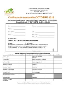 Bon de Commande - CAS de l`agglomération Dijonnaise