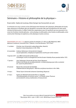 seminar History and philosophy of Physics 2016-2017