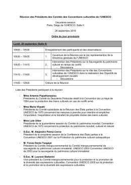 Réunion des Présidents des Comités des Conventions culturelles