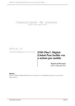 SMS Plus?: Digital Global Pass facilite vos e