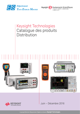 Keysight Technologies Catalogue des produits Distribution