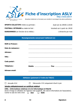 Fiche d`inscription ASLV