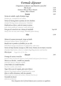 Formule déjeuner - Restaurant Mirabelle