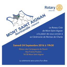 Carton Invitation Remise de Charte Rotaty Club Mont