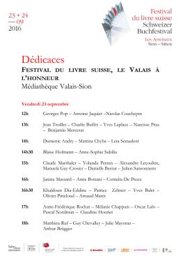 Dédicaces - festival du livre Suisse