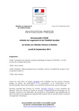 L`invitation presse : Emmanuelle Cosse se rendra au Climate