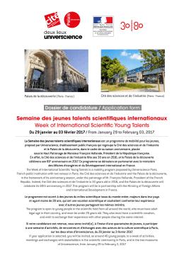 Semaine des jeunes talents scientifiques internationaux Week of