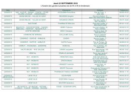 Jeudi 22 SEPTEMBRE 2016 L`horaire des gardes suivantes