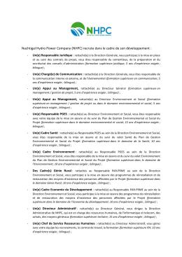 Nachtigal Hydro Power Company (NHPC) recrute dans le cadre de