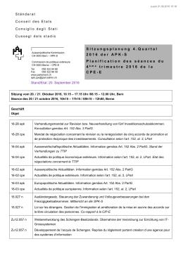 Sitzungsplanung 4. Quartal 2016 der APK