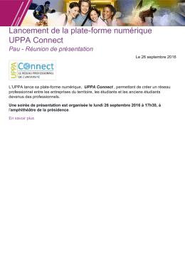Lancement de la plate-forme numérique UPPA Connect