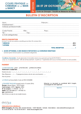 Télécharger le bulletin d`inscription 2016…