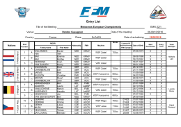 Entry List - Nations Gueugnon 2016