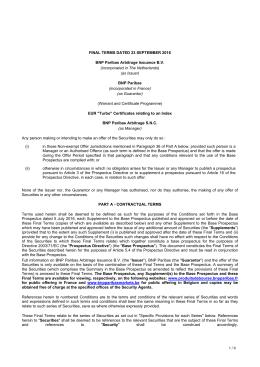 Conditions définitives et ISS - produits de bourse BNP Paribas