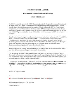 COMMUNIQUE DE LA CNSK - MRAP