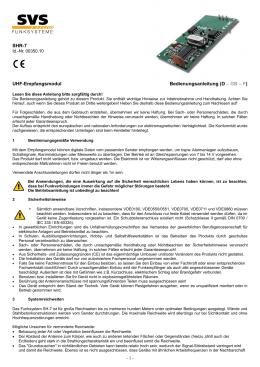 SHR-7 UHF-Empfangsmodul Bedienungsanleitung (D – GB – F)
