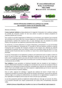 Intervention Solidaires CODEV du 20 sept 2016