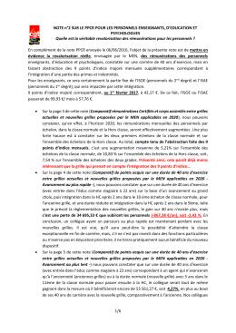 NOTE n°2 SUR LE PPCR POUR LES PERSONNELS