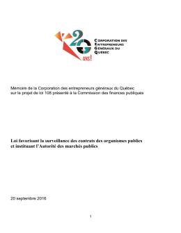 Mémoire projet de loi 108 - Corporation des entrepreneurs