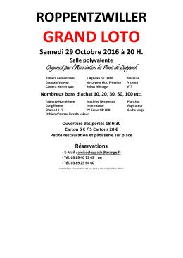 Samedi 29 Octobre 2016 à 20 H. - Loto