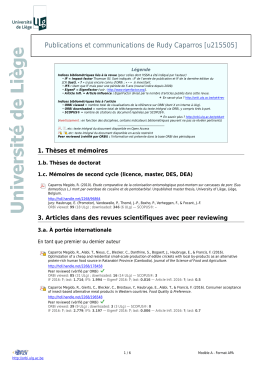 Publications et communications de Rudy Caparros [u215505]