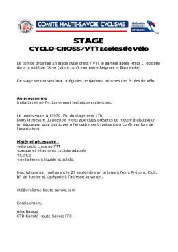 CYCLO-CROSS / VTT Ecoles de vélo