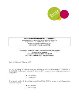 Communiqué établissant le bilan semestriel du contrat de liquidité