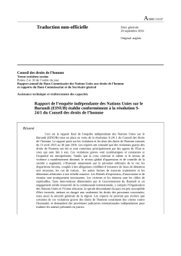 Final report of the mission of independent experts to Burundi in French