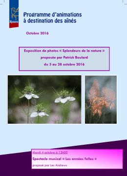 proposée par Patrick Boulard du 3 au 28 octobre