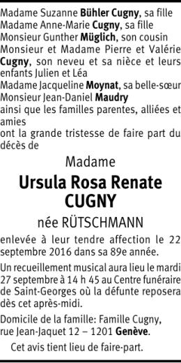 Ursula Rosa Renate CUGNY